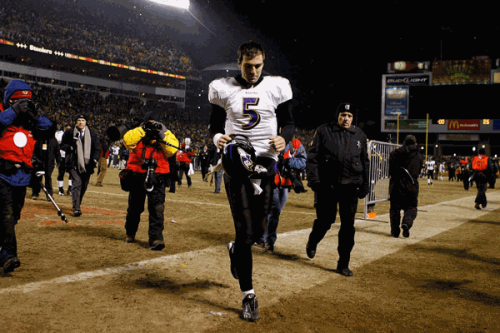 Baltimore Ravens rookie quarterback, Joe Flacco, silently walked off the field after a disappointing performance.