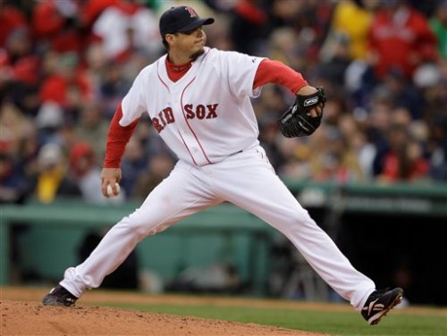 Josh Beckett, in the midst of dominating Tampa on Opening Day