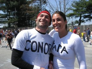 Ms. Paulauskas with good friend Conor at mile 16 last year.